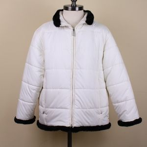 Spyder Ivory Winter Coat with Black Faux Fur Trim